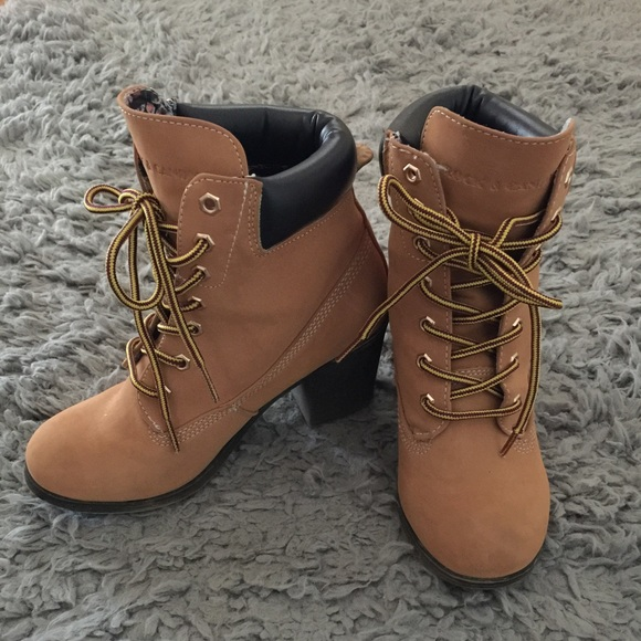 bb647504522 High Heel Boots. Timberland look-a-likes