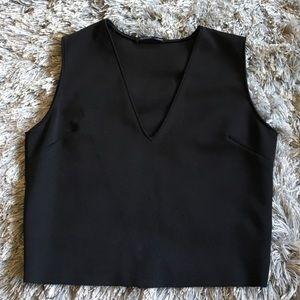 Zara Cropped V Neck Top