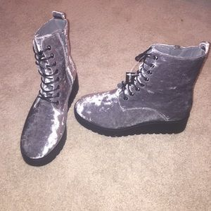 Grey velvet platform combat boots!