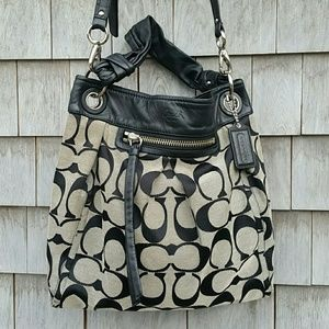 Coach Handbags - COACH LEATHER/CANVAS HOBO PURSE