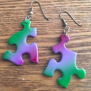 handmade Jewelry - Gorgeous airbrushed puzzle earrings