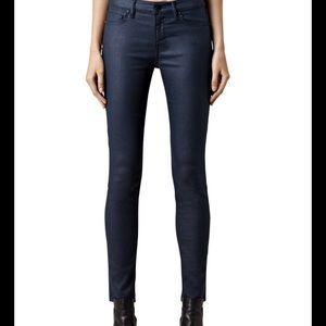 All Saints Mast coated navy jeans 27