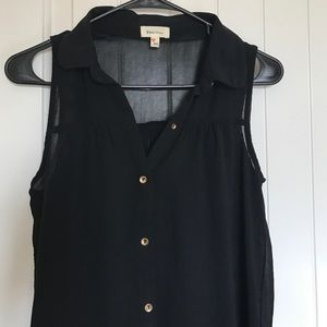Tops - Sleeveless Sheer Button Up Blouse