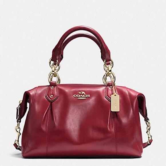 3eb4c46e65 Coach Handbags - Crimson Coach Colette Leather Satchel