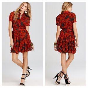 Rachel Zoe Print Silk Ruffe Dress
