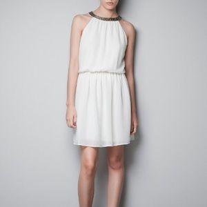 HALTER neck dress with a diamante collar - ZARA