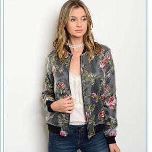 windyscloset Jackets & Blazers - Grey Floral Bomber Jacket!