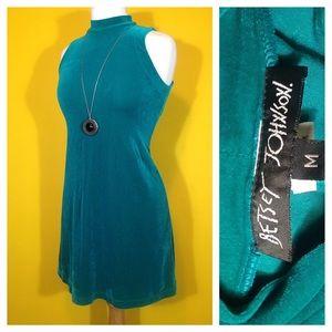 SOLD! Vintage Betsey Johnson Teal Velvet Dress