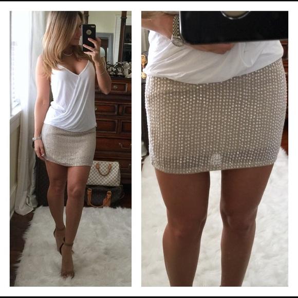9e7d0f9f39657 Haute Hippie Dresses   Skirts - Haute Hippie silver beaded nude mini skirt M