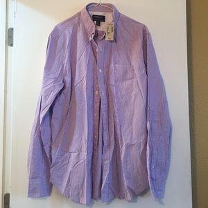 Men's brand new purple striped button down