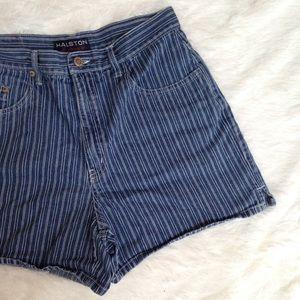 Vintage Halston stripe denim shorts
