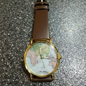 World map globe womens watch