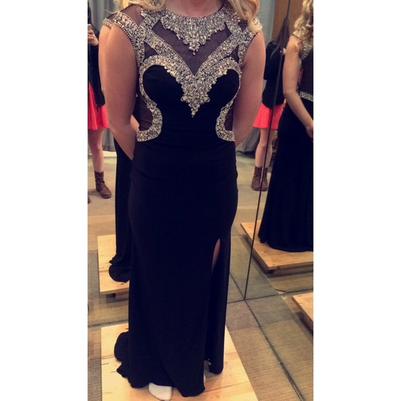 Dresses Black Sparkles High Neck Tight Fitted Prom Dress Poshmark
