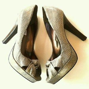 Steve Madden Shoes - Steve Madden Bronze Peep Toe Pump Heels
