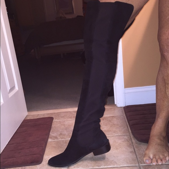 46% off Vaneli Shoes - Gorgeous black suede thigh high flat boots ...