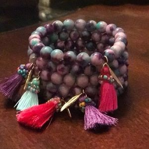 Boho Gypsy Sisters Jewelry - Stretchy Bead Bracelet with tassel and feather.