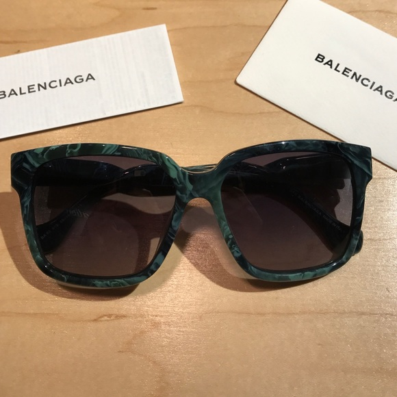 53ba1587686e Balenciaga Accessories | Green Marble Twisted Temple Sunglasses ...