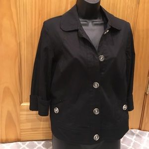 Black Boxy Fit Blazer with Clear Button Details