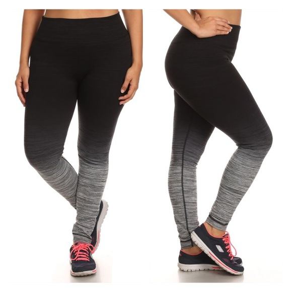 45% off Pants - Black neon green ombre capri workout leggings from ...