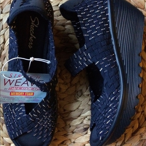 ade16ff5c6cc NEW Skechers Stretch Weave Wedge Navy Silver