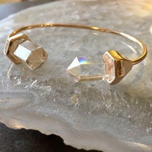 Quartz Natural Stone Crystal Gold Bangle Bracelet