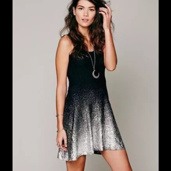 6f2284aa1b0dbc Free People Dresses & Skirts - Free People Black Silver Lace Ombre Foil  Dress
