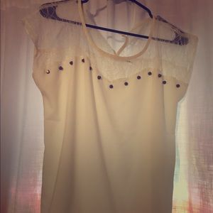 White Sheer Blu Pepper Top Size Large