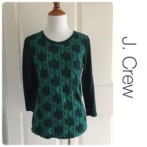 J. Crew emerald embroidered top size xs