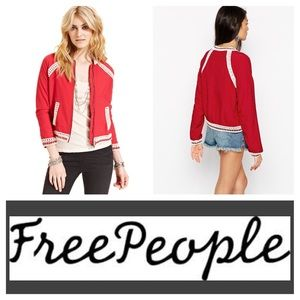 Free People Crochet Inset Baseball Jacket (S)