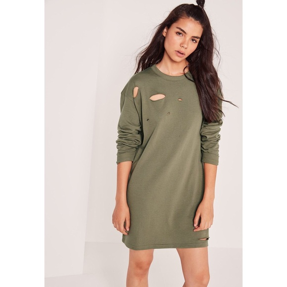 7b9ac255666 Missguided ripped oversized sweatshirt dress khaki