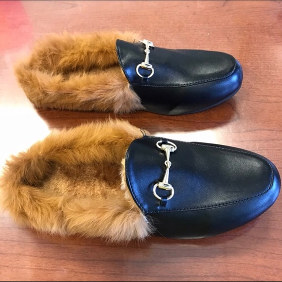 cbc03f2a0e0 Princetown Leather and Lamb Fur Slippers