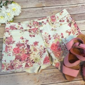Floral Denim Cut Off Shorts