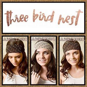 Three Bird Nest Accessories - 🇺🇸🆕CROCHETED BEADED HEADBAND  3 colors