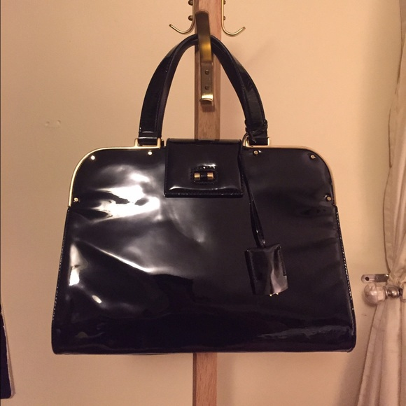 441461a6ae7d YSL black patent Uptown handbag. NWT. Yves Saint Laurent