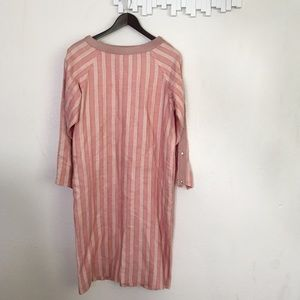 Vintage pink linen leather trim dress