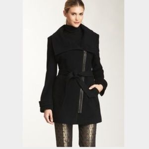 Cole Haan beautiful black wool coat leather trim