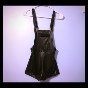Nasty Gal Pants - Black Faux Leather Overall Jumper