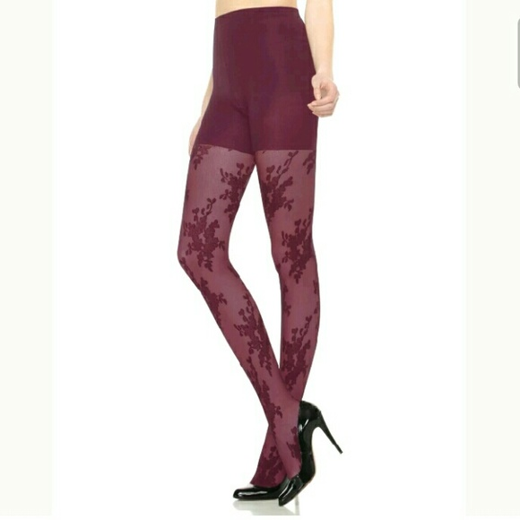 825176fda227c4 SPANX Accessories | Uptown Tights Currant Floral Lace Size B | Poshmark