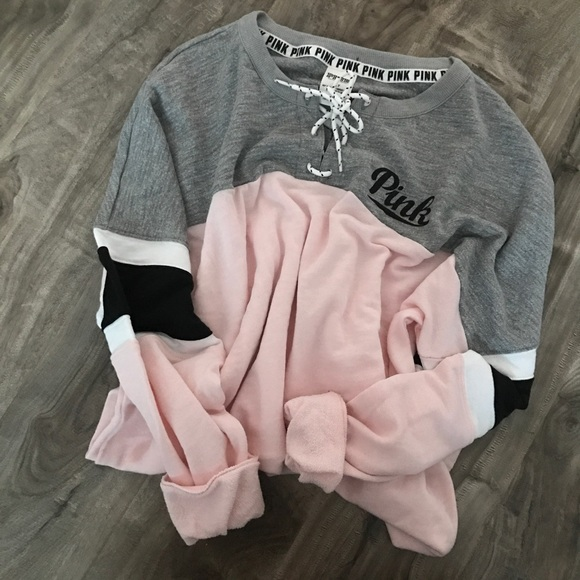PINK Victoria's Secret - • vs pink | lace up varsity crewneck ...
