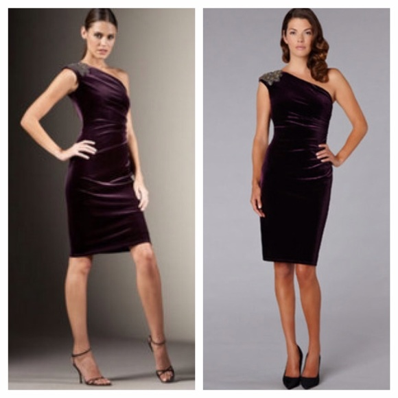 David Meister One Shoulder Dress