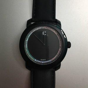 Black watch rainbow diamonds all around the edge