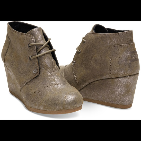 9413894f24f6 TOMS Shoes - TOMS Desert Wedges - Metallic Taupe size 8