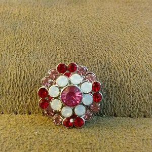 Jewelry - Red pink n white rhinestone snap button, 20mm