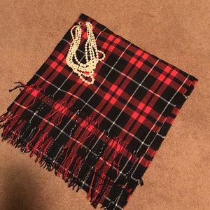 Accessories - Red and black plaid blanket scarf