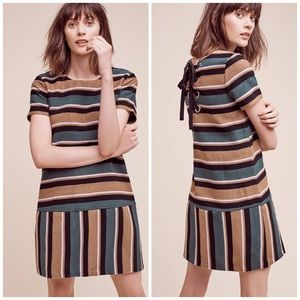 J.O.A. Anthropologie Striped Lace Up Dress