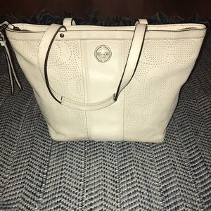 Coach Handbags - Coach perforated leather bag tote white