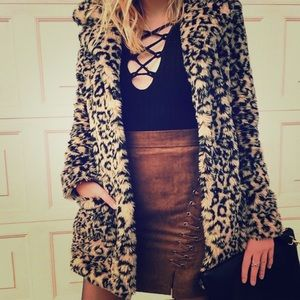 Free People Jackets & Blazers - Free People Leopard fur Coat