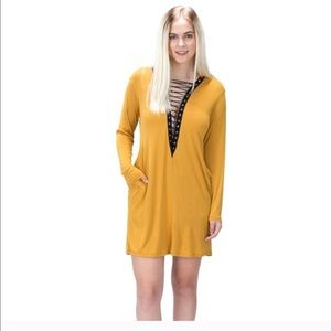 The Blossom Apparel Dresses & Skirts - 🌻HP🌻Lace-Up Pocket Dress