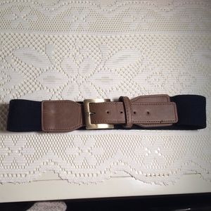 Uncommon Accessories - Brown & Black Faux Leather & Elastic Belt