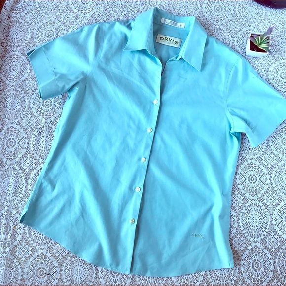 93c3a4df Orvis Tops | Blue Wrinkle Free Short Sleeve Button Down | Poshmark